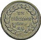 Photo numismatique  ARCHIVES VENTE 2015 -26-28 oct -Coll Jean Teitgen MONNAIES MODERNES MESSINES LE DIRECTOIRE (27 octobre 1795-10 novembre 1799)  969- Un décime, surfrappe d'un 2 décimes, Metz, An 5 de la Liberté.
