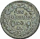 Photo numismatique  ARCHIVES VENTE 2015 -26-28 oct -Coll Jean Teitgen MONNAIES MODERNES MESSINES DIRECTOIRE ET CONSULAT  970- Un décime, Metz an 8 de la Liberté.