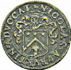 Photo numismatique  ARCHIVES VENTE 2015 -26-28 oct -Coll Jean Teitgen JETONS ET MÉDAILLES MESSINS MAITRES ECHEVINS  975- Jeton de Nicolas Auburtin, échevin-trésorier, 1652.