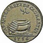Photo numismatique  ARCHIVES VENTE 2015 -26-28 oct -Coll Jean Teitgen JETONS ET MÉDAILLES MESSINS MAITRES ECHEVINS  987- Jeton de cuivre pour le baptême de Casimir de Caumartin, 1754.