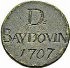 Photo numismatique  ARCHIVES VENTE 2015 -26-28 oct -Coll Jean Teitgen JETONS ET MÉDAILLES MESSINS CORPORATIONS  990- Méreau de D. Baudouin 1707.