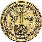 Photo numismatique  ARCHIVES VENTE 2015 -26-28 oct -Coll Jean Teitgen JETONS ET MEDAILLES MESSINS LOGE MACONNIQUE  999- Jeton du Souverain Chapitre de l'École de la Sagesse et du triple accord réunis à Metz. Or, daté 5812.