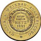 Photo numismatique  ARCHIVES VENTE 2015 -26-28 oct -Coll Jean Teitgen JETONS ET MÉDAILLES MESSINS ANNEXION DE L'ALSACE--LORRAINE (1871-1918)  1020- Association agricole, 1891.