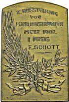 Photo numismatique  ARCHIVES VENTE 2015 -26-28 oct -Coll Jean Teitgen JETONS ET MEDAILLES MESSINS ANNEXION DE L'ALSACE--LORRAINE (1871-1918)  1025- Exposition, 1907.