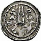 Photo numismatique  ARCHIVES VENTE 2015 -26-28 oct -Coll Jean Teitgen DUCHE DE LORRAINE FERRI III (1251-1303)  1050- Denier avec croissant et étoile, Nancy.