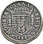 Photo numismatique  ARCHIVES VENTE 2015 -26-28 oct -Coll Jean Teitgen DUCHÉ DE LORRAINE CHARLES III, le Grand Duc (1545-1608) Monnayage de 1581 à 1608 1160- Teston, Nancy 1584 (4 sur 3).