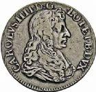 Photo numismatique  ARCHIVES VENTE 2015 -26-28 oct -Coll Jean Teitgen DUCHÉ DE LORRAINE CHARLES IV, 2ème période (1661-1675)  1216- Teston, Nancy 1669.