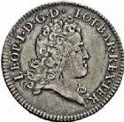 Photo numismatique  ARCHIVES VENTE 2015 -26-28 oct -Coll Jean Teitgen DUCHÉ DE LORRAINE LEOPOLD Ier (1690-1729)  1252- Demi-aubonne ou demi-léopold d'argent, 1724.