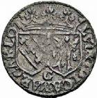 Photo numismatique  ARCHIVES VENTE 2015 -26-28 oct -Coll Jean Teitgen LOCALITES APPARENTEES A LA LORRAINE Seigneurie de CHATEAU-REGNAULT Louise -Marguerite de LORRAINE (1614-1629) 1315- Double denier.