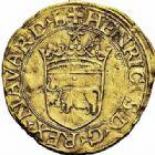 Photo numismatique  ARCHIVES VENTE 2015 -26-28 oct -Coll Jean Teitgen BEARN ET NAVARRE Seigneurie de BEARN HENRI Ier D'Albret, II de Navarre (1516-1555) 1338- Écu d'or à la croisette.