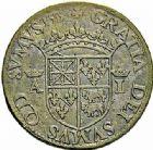 Photo numismatique  ARCHIVES VENTE 2015 -26-28 oct -Coll Jean Teitgen BEARN ET NAVARRE Seigneurie de BEARN ANTOINE de Bourbon et JEANNE d'Albret (1555-1562) 1346- Frappe en cuivre du teston aux bustes affrontés, Moulin de Pau 1555.