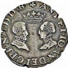 Photo numismatique  ARCHIVES VENTE 2015 -26-28 oct -Coll Jean Teitgen BEARN ET NAVARRE Seigneurie de BEARN ANTOINE de Bourbon et JEANNE d'Albret (1555-1562) 1347- Demi-teston aux bustes affrontés, Morlaàs 1564.