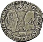 Photo numismatique  ARCHIVES VENTE 2015 -26-28 oct -Coll Jean Teitgen BEARN ET NAVARRE Seigneurie de BEARN HENRI II (1572-1589) 1365- Demi-teston, Morlaàs 1577.