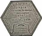 Photo numismatique  ARCHIVES VENTE 2015 -26-28 oct -Coll Jean Teitgen JETONS ET MÉDAILLES DES MINES Mines d'ANZIN, RAISMES, FRESNES et VIEUX-CONDE  1418- Médaille hexagonale accordée pour actes de dévouement, 1835.