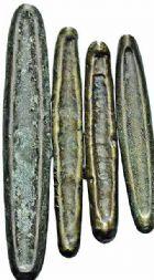 Photo numismatique  ARCHIVES VENTE 2015 -26-28 oct -Coll Jean Teitgen MONNAIES DE FORMES CURIEUSES LAOS  1451- Lot de 5 monnaies.