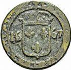 Photo numismatique  ARCHIVES VENTE 2015 -26-28 oct -Coll Jean Teitgen SYSTEMES DE PESAGE POIDS DE VILLES CARCASSONNE (Aude) 1471- Émission de 1667. Trois livres, 1667.
