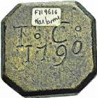 Photo numismatique  ARCHIVES VENTE 2015 -26-28 oct -Coll Jean Teitgen SYSTÈMES DE PESAGE POIDS DE VILLES NARBONNE (Aude) 1484- Demi-Livre, datée en creux 1790.