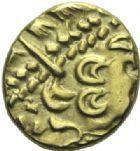 Photo numismatique  MONNAIES GAULE - CELTES AMBIANI (Bassin de la Somme)  Statère d'or biface.