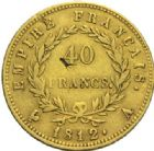 Photo numismatique  MONNAIES MODERNES FRANÇAISES NAPOLEON Ier, empereur (18 mai 1804- 6 avril 1814)  40 francs or, Paris 1812.