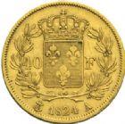 Photo numismatique  MONNAIES MODERNES FRANÇAISES LOUIS XVIII, 2e restauration (8 juillet 1815-16 septembre 1824)  40 francs or, Paris 1824.