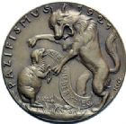 Photo numismatique  MEDAILLES MEDAILLES MEDAILLES SATIRIQUES ALLEMANDES Médailles de Karl Goetz Le pacifiscme, 1921. Pazifismus.
