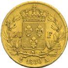 Photo numismatique  MONNAIES MODERNES FRANÇAISES CHARLES X (16 septembre 1824-2 août 1830)  20 francs or, Paris 1830.
