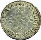 Photo numismatique  MONNAIES ROYALES FRANCAISES LOUIS XIII (16 mai 1610-14 mai 1643)  1/4 d'écu, Lyon 1642.