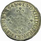 Photo numismatique  MONNAIES ROYALES FRANCAISES LOUIS XIII (16 mai 1610-14 mai 1643)  1/4 d'écu, Lyon 1642.
