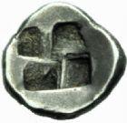 Photo numismatique  MONNAIES GRECE ANTIQUE GAULE Type du trésor d'Auriol (Ve siècle) Hémiobole milésiaque (495-470).