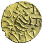 Photo numismatique  MONNAIES PEUPLES BARBARES MEROVINGIENS CITES COUTANCES (Manche) Triens d'or au nom de Leandomarus (vers 620-640).