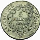 Photo numismatique  MONNAIES MODERNES FRANÇAISES LE CONSULAT (à partir du 24 décembre 1799-18 mai 1804)  5 francs, Perpignan an 8.