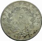 Photo numismatique  MONNAIES MODERNES FRANÇAISES NAPOLEON Ier, empereur (18 mai 1804- 6 avril 1814)  5 francs, Paris 1809.