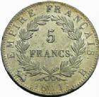 Photo numismatique  MONNAIES MODERNES FRANÇAISES NAPOLEON Ier, empereur (18 mai 1804- 6 avril 1814)  5 francs, Rouen 1811.