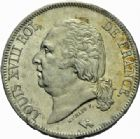 Photo numismatique  MONNAIES MODERNES FRANÇAISES LOUIS XVIII, 2e restauration (8 juillet 1815-16 septembre 1824)  5 francs, Bayonne 1823.