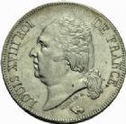 Photo numismatique  MONNAIES MODERNES FRANÇAISES LOUIS XVIII, 2e restauration (8 juillet 1815-16 septembre 1824)  5 francs, Bordeaux 1823.