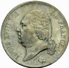 Photo numismatique  MONNAIES MODERNES FRANÇAISES LOUIS XVIII, 2e restauration (8 juillet 1815-16 septembre 1824)  5 francs, Lille 1823.
