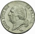 Photo numismatique  MONNAIES MODERNES FRANÇAISES LOUIS XVIII, 2e restauration (8 juillet 1815-16 septembre 1824)  5 francs, Paris 1824.