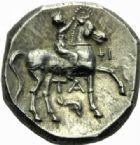 Photo numismatique  MONNAIES GRECE ANTIQUE Italie - Calabre Tarente (281-228) Statère campano-tarentin.