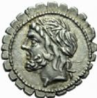 Photo numismatique  MONNAIES REPUBLIQUE ROMAINE L. Scipio Asiagenus (vers 106)  Denier serratus. Denier serratus.