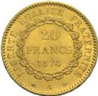 Photo numismatique  MONNAIES MODERNES FRANÇAISES 3ème REPUBLIQUE (4 septembre 1870-10 juillet1940)  20 francs or, Paris 1874.