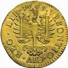 Photo numismatique  ARCHIVES VENTE 2016 -24 MAI CITE IMPERIALE DE BESANCON CHARLES II Roi d'Espagne (6 nov. 1661-1er nov. 1700)  4- Jeton en or à l'effigie de Charles II roi d'Espagne, 1671.
