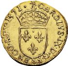 Photo numismatique  ARCHIVES VENTE 2016 -6 juin ROYALES FRANCAISES CHARLES IX (5 décembre 1560-30 mai 1574)  4- Ecu d'or au soleil, La Rochelle 1571.