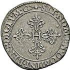 Photo numismatique  ARCHIVES VENTE 2016 -6 juin ROYALES FRANCAISES HENRI III (30 mai 1574–2 août 1589)  5- Franc d'argent à la fraise, Toulouse 1582.
