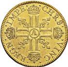 Photo numismatique  ARCHIVES VENTE 2016 -6 juin ROYALES FRANCAISES LOUIS XIII (16 mai 1610-14 mai 1643)  7- Double louis d'or à la mèche courte avec LUDO, Moulin de Paris 1640.