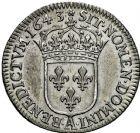 Photo numismatique  ARCHIVES VENTE 2016 -6 juin ROYALES FRANCAISES LOUIS XIII (16 mai 1610-14 mai 1643)  11- Douzième d'écu de 5 sols, 3ème type de Warin, Paris 1643.