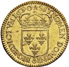 Photo numismatique  ARCHIVES VENTE 2016 -6 juin ROYALES FRANCAISES LOUIS XIV (14 mai 1643-1er septembre 1715)  13- Double louis d'or à l'écu, Paris 1690.