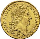 Photo numismatique  ARCHIVES VENTE 2016 -6 juin ROYALES FRANCAISES LOUIS XIV (14 mai 1643-1er septembre 1715)  19- Louis d'or au soleil, Besançon 1709.