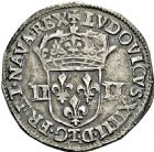 Photo numismatique  ARCHIVES VENTE 2016 -6 juin ROYALES FRANCAISES LOUIS XIV (14 mai 1643-1er septembre 1715)  21- 1/4 d'écu, 1er type, Nantes 1645. Titulature autour de l'écu.