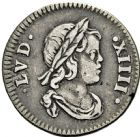 Photo numismatique  ARCHIVES VENTE 2016 -6 juin ROYALES FRANCAISES LOUIS XIV (14 mai 1643-1er septembre 1715)  23- 1/24ème d'écu à la mèche courte au buste drapé, Paris 1644.