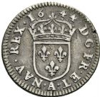 Photo numismatique  ARCHIVES VENTE 2016 -6 juin ROYALES FRANCAISES LOUIS XIV (14 mai 1643-1er septembre 1715)  23- 1/24ème d'écu à la mèche courte au buste drapé, Paris 1644.